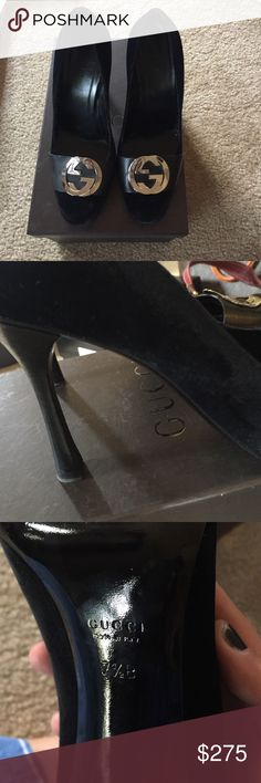 Vintage Gucci black velvet heels-worn once! Only worn once. Great condition. Comes with Gucci box Gucci Shoes Heels