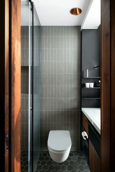 Cheap Home Decor Tower Apt. in Tel Aviv by RUST architects - Design Milk.Cheap Home Decor Tower Apt. in Tel Aviv by RUST architects - Design Milk Modern Bathroom Design, Bathroom Interior Design, Modern Design, Minimal Bathroom, Kitchen Interior, Contemporary Design, Steam Showers Bathroom, Bathroom Toilets, Shower Rooms