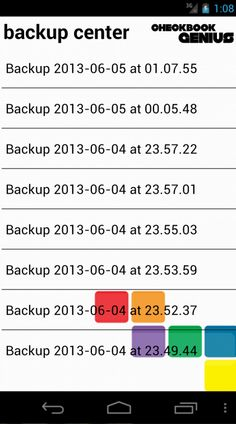 Use the Backup Center to manage backups of your Checkbook Genius data, or to migrate your installation of Checkbook Genius to another Android device!