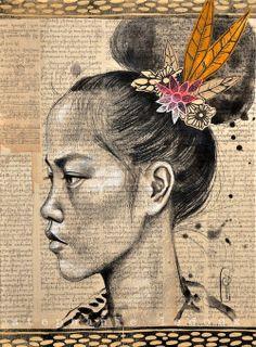 Birmane au chignon par Stéphanie Ledoux, dessinatrice globe-trotteuse française.