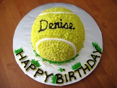 """I made this cake for a tennis fanatic. And when I say """"fanatic,"""" I mean that in the truest sense of the word! This seemed a fitting tribu..."""