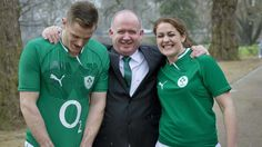 Declan Kidney with men's captain Jamie Heaslip and women's captain Fiona Coghlan at yesterday's RBS Six Nations launch in London  rte sport
