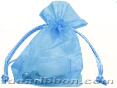 "20- 3 1/2"" x 5 x 1 1/2"" Light Blue Square Flat Bottom Organza Sheer Gift Favor Bags - Pack of 20"