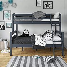 Amazon.com: Dorel Living Brady Twin over Full Solid Wood Kid's Bunk Bed with Ladder, Gray: Kitchen & Dining