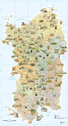 Tourist And Archaeology Map of Sardinia large map