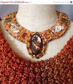 ON SALE Bead Embroidered Collar  Red Jasper by bjswearableart, $75.00