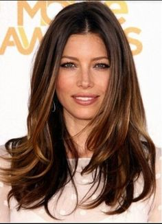 Love the color and long layers. Perfect blowout without being too straight. Jessica Biel has the best hair in hollywood