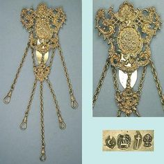 Antique German Gilded Silver 5 Chain Chatelaine; Circa 1890's