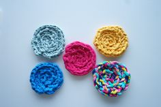 Rainbow Crochet Coaster Set Pieces) by RoseliteHome on Etsy Crochet Coaster, Rainbow Crochet, Crochet Doilies, Coaster Set, Raspberry, Unique Jewelry, Handmade Gifts, Etsy, Vintage