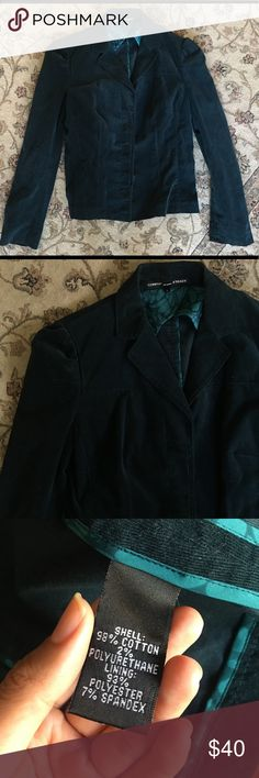 Ellen Tracy corduroy blazer Dark teal color, fine corduroy blazer, has 3 buttons. No defects. Comes from a smoke free home :) Ellen Tracy Jackets & Coats Blazers