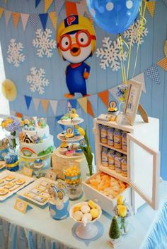 Pororo by Fairy Floss Party One Year Birthday, 2nd Birthday Parties, Birthday Bash, Birthday Party Decorations, Party Themes, Party Ideas, First Birthday Invitations, Baby Shower Fun, Backdrops For Parties