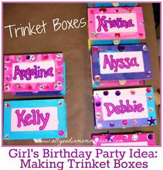 Girl's Birthday Party Idea: Jewelry Boxes