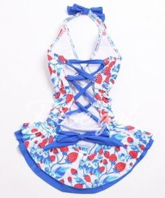 Cute Halter Strawberry Print Bandage One-Piece Women's Swimwear Swimwear | RoseGal.com Mobile
