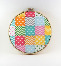 Embroidery Hoop Wall Art - Nursery Decor - Dots and Chevron Pink Orange Yellow Teal Blue