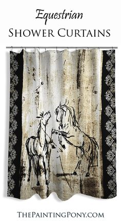 Equestrian SHOWER CURTAIN - rustic rearing wild horses art printed onto this country, western horse lover shower curtain! Cowgirl style home decor for the guest bathroom or barn shower!
