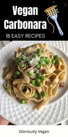 These collection of healthy vegan carbonara pasta recipes are indulge with rich creamy pasta sauce made from cashew. A perfect comfort food for weekend dinner fast and easy to prepare. #pasta #spaghetti #carbonara #veganpasta #meatlessmonday Easy Vegan Lunch, Quick Easy Vegan, Easy Healthy Recipes, 21 Day Fix Vegetarian, Vegetarian Meals, Vegan Dinners, Vegan Pasta, Vegan Food, Pasta Spaghetti