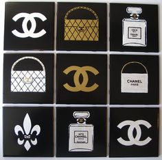 Hand Painted CHANEL Inspired Wall Decorative Art Tile.