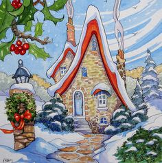Christmas Storybook Cottage ~ by Alida Akers