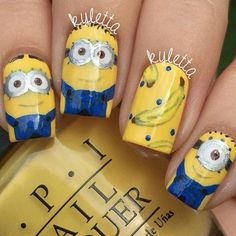 # NAILS- Minion Nail Art, Casual Nails, Really Cute Nails, Yellow Nail Art, Toe Polish, Beauty Nails, Opi, Minions, Kylie
