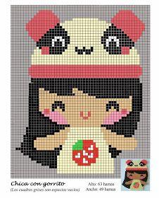 Girl with panda hat hama perler beads pattern Kawaii Cross Stitch, Tiny Cross Stitch, Cross Stitch Designs, Cross Stitch Patterns, Hama Beads Patterns, Beading Patterns, Stitch Doll, Pix Art, Perler Bead Templates