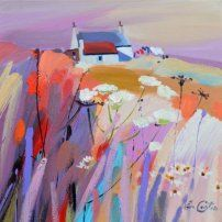 Pam Carter - Wild Flowers And Bothy Landscape Artwork, Abstract Landscape Painting, Watercolor Landscape, Impressionist Paintings, Environment Concept Art, Painting Inspiration, Flower Art, Amazing Art, Bothy