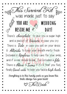 Bridesmaid Survival Kit Poem By Darlingsailordesigns On Etsy 3 00