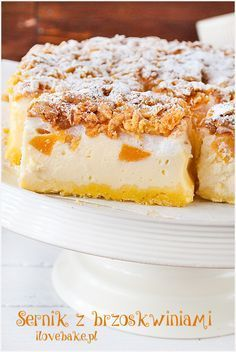sernik z brzoskwiniami przepis Cheesecake Pops, Breakfast Recipes, Dessert Recipes, Yummy Mummy, Vanilla Cake, Love Food, Keto Recipes, Food Photography, Food Porn