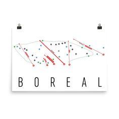 Boreal Ski Map Art, Boreal CA, Boreal Trail Map, Boreal Resort Print, Boreal Poster, Boreal Ski Mountain, Boreal Ski Art, Boreal Gift, Decor