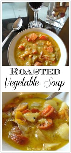 This Roasted Vegetable Soup is so delicious and easy! It's a low-fat recipe perfect for the Daniel Fast, a light dinner, or for a vegetarian side dish. Chopping the veggies is the hardest part, but you'll be out of the kitchen in no time!