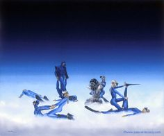 CHIROPRAXIE THAILANDAISE - Thai chiropraxy - Oil on canvas by Pascal The Painter of Blue  18x22 46x55cm 2003 lec657 priv.coll.France ?  Pascal Lecocq#hardhat #massage #thai #art #blue #painterofblue #painting #painter #artist #contemporaryartcurator #artstack #artcartridge #artcollectae #glarify #theartdex #in #pint.