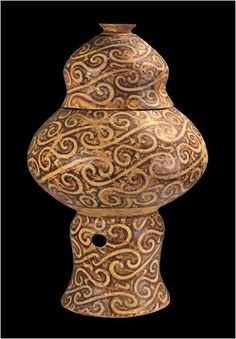 "Old Europe Culture. Globular Vessel With Lid Fired Clay. Cucuteni, Scânteia, 4200-4050 BCE. ""...a great many archaeologists had not heard of these Old Europe cultures."" Dr. Bagnall, a specialist in Egyptian archaeology, remarked that at the time ""Egyptians were certainly not making pottery like this."" Moldova National Museum Complex, Iaşi."