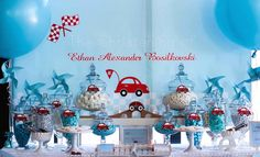 Little Red Car Race Car Themed Birthday Party Boys 1st Birthday Party Ideas, Race Car Birthday, Race Car Party, Party Themes For Boys, Cars Birthday Parties, 1st Boy Birthday, Car Themed Parties, Baby Shower, Baby Boys