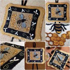 Punch Needle Pattern Sweet Honeycomb PN529 by ThreeSheepStudio