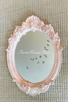 Pink Nursery Mirror Shabby Chic Mirror Vanity Wall Hanging