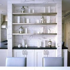 marble detail + stainless steel shelving built-in by Haynes Roberts Stainless Steel Shelving, Metal Shelving, Pantry Shelving, Stainless Kitchen, Kitchen Shelves, Kitchen Storage, Marble Bistro Table, Kitchen Butlers Pantry, Butler Pantry