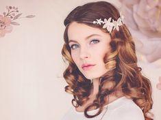 Boda nupcial flor corona, verano boda tocado, tocado de novia Boho, bosques de la boda, flor de novia Linnea la corona #141