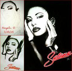 Charcoal drawing of Selena Quintanilla  @Nayeli.Ochoa.509