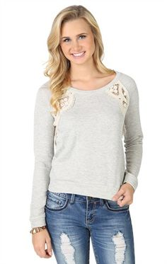 Deb Shops Long Sleeve #French #Terry Crop Top with Crochet Insets $15.67