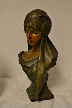 Art Nouveau Plaster or Chalkware Bust of SCHEHERAZADE by E. Villanis C. 1880-1900