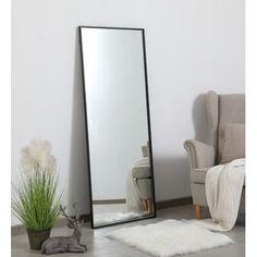 Three Posts Shildon Accent Mirror Finish: Black, Size: H x W Big Mirror In Bedroom, Bedroom Corner, Living Room Mirrors, Big Mirrors, Huge Mirror, Floor Mirror, Bedroom Mirrors, Bedroom Layouts, Room Ideas Bedroom