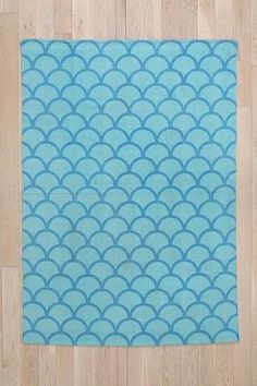 UO Urban Outfitters Stamped Scallop Rug Cotton 5x7 Sky NEW w tag Anthropologie