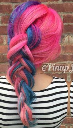 Pink blue dyed hair @pinupjordan