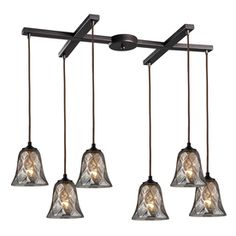 Westmore Lighting Erinfield 33-In Oiled Bronze And Tinted Glass Mini T