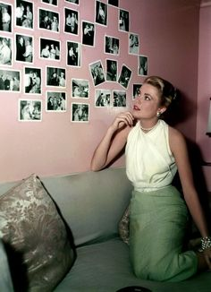 Looking at photographs in 1955.