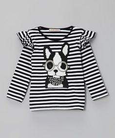 Black Stripe Pup Tee