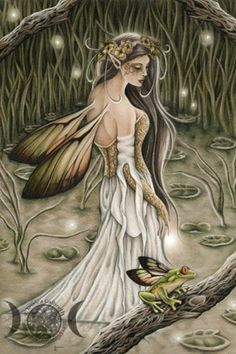 Arenmetia - Jessica Galbreth The Celtic river deity stands in an enchanted marsh as a winged frog serenades her.