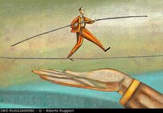 Man walking a tightrope with a safety net. IWO-RUGGIA0098C ...