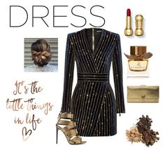 """Party Dress"" by synthie on Polyvore featuring Balmain, Burberry, Tom Ford and Alexander McQueen"