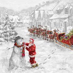 Father Christmas and the Snowman Christmas Scenes, Noel Christmas, Father Christmas, Vintage Christmas Cards, Christmas Pictures, Winter Christmas, Primitive Christmas, Country Christmas, Christmas Decor