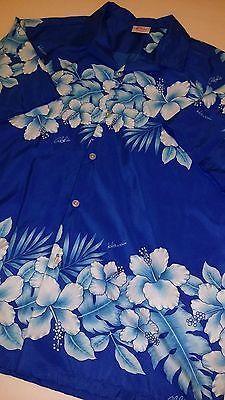 Kalena Hawaiian Shirt Hawaii XL Blue Hibiscus Aloha Cruise Beach Camp Shirt